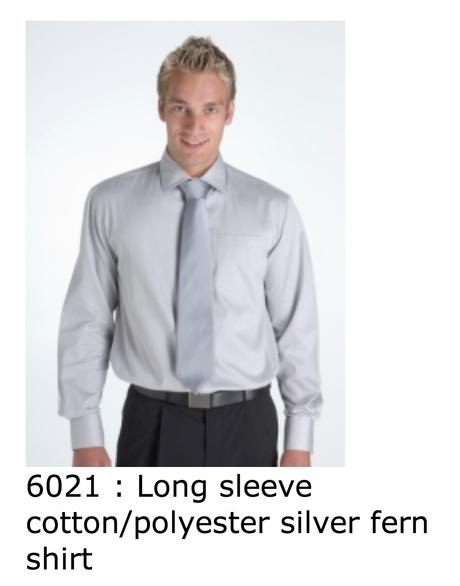 6021 Long sleeve cotton polyester silver fern shirt