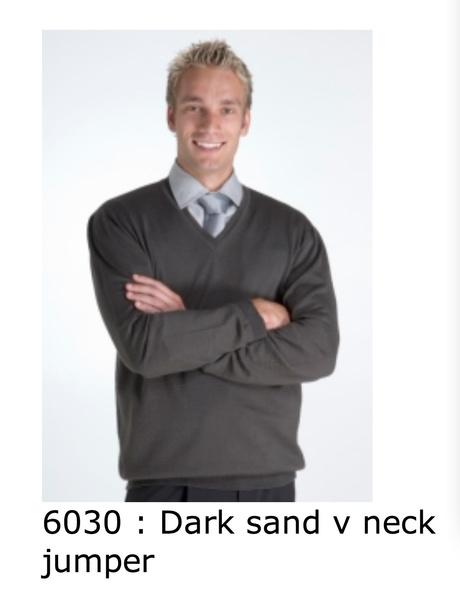 6030 dark sand v neck jumper