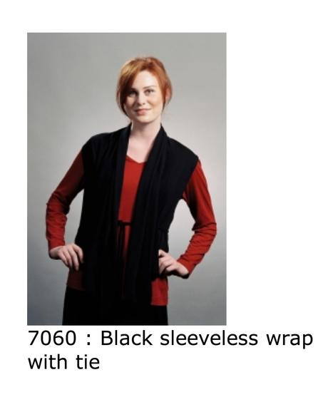 7060 black sleeveless wrap top with tie